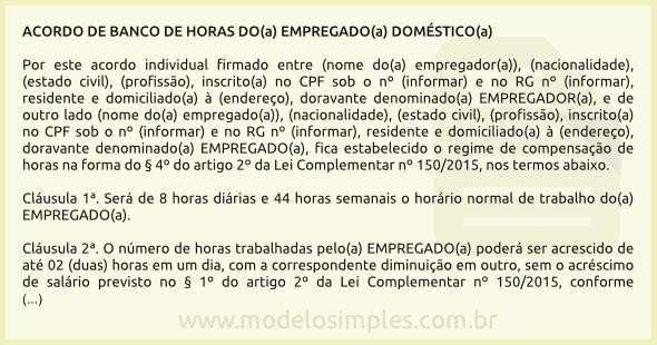 Modelo De Acordo De Banco De Horas Da Empregada Doméstica