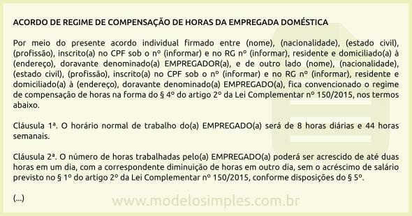 Modelo De Acordo De Compensação De Horas Da Empregada Doméstica