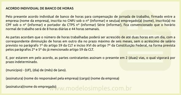 Modelo De Acordo Individual De Banco De Horas
