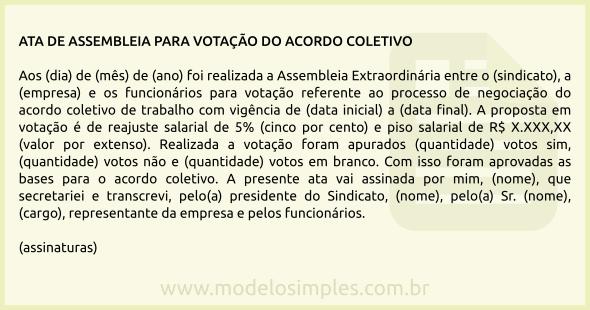 Modelo De Ata De Assembleia Para Votação Do Acordo Coletivo