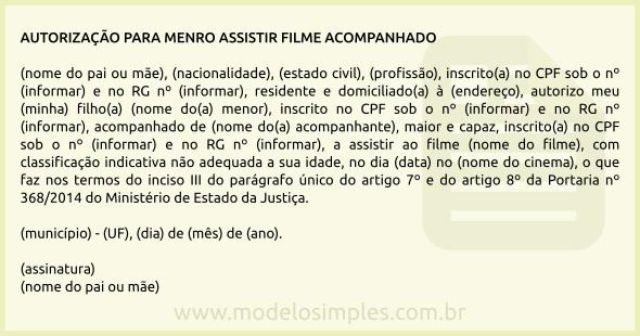 Modelo De Autorização Para Menor Assistir Filme Acompanhado