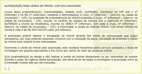 Modelo De Autorização Para Venda De Imóvel Com Exclusividade