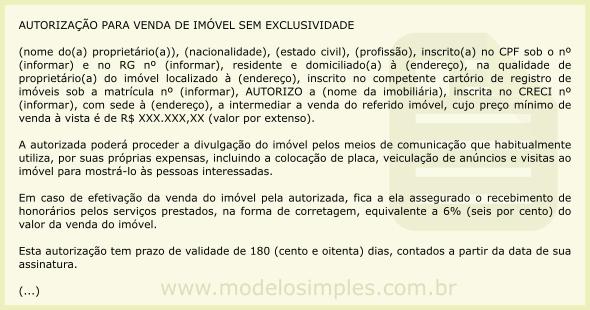 Modelo De Autorização Para Venda De Imóvel Sem Exclusividade
