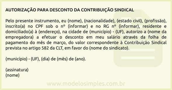 Modelo De Carta De Autorização Para Desconto Da Contribuição