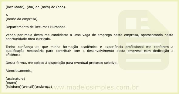Modelo carta de apresentacao emprego