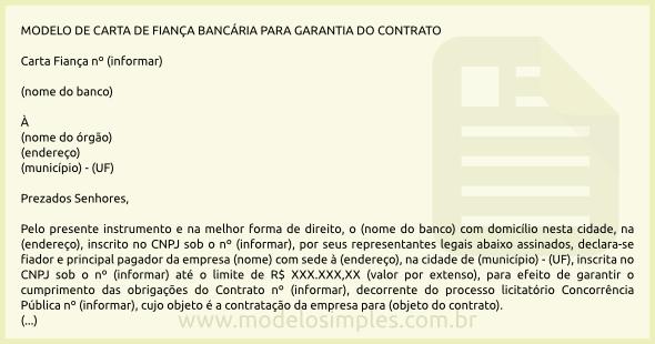 Modelo De Carta De Fiança Bancária