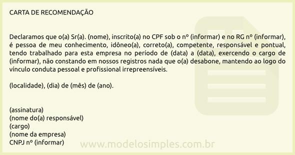 modelo de carta de recomenda u00e7 u00e3o profissional
