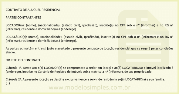 Modelo De Contrato De Aluguel Residencial