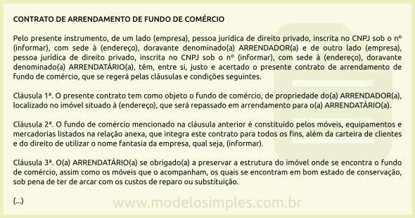 Modelo de Contrato de Arrendamento de Fundo de Comércio abe8204108