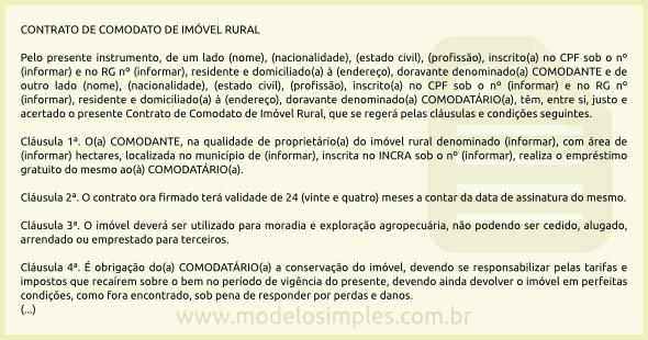 Modelo de Contrato de Comodato de Imóvel Rural 0c9d27d7e0