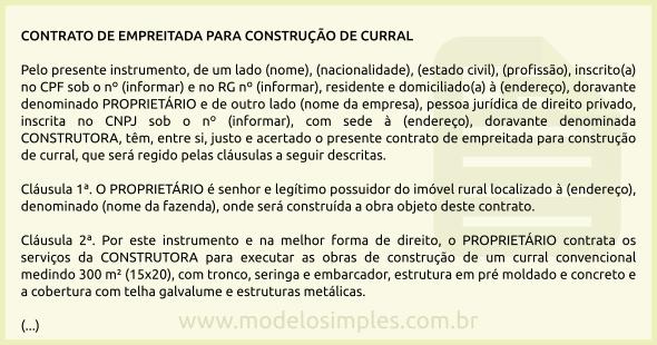 Modelo De Contrato De Empreitada Para Construção De Curral