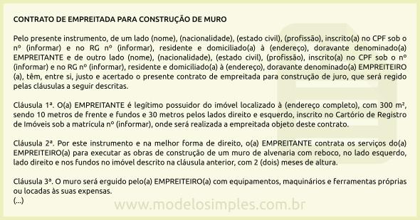 Modelo De Contrato De Empreitada Para Construção De Muro