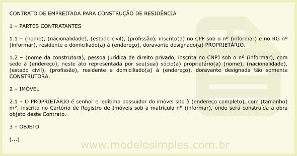 Modelo De Contrato De Empreitada Para Construção De Residência