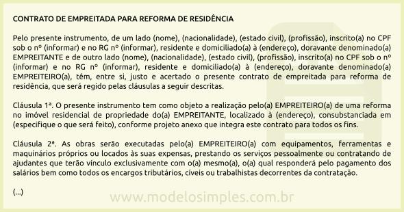 Modelo De Contrato De Empreitada Para Reforma De Residência