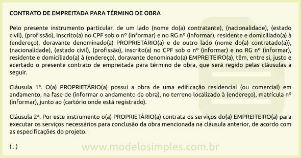 Modelo De Contrato De Empreitada Para Término De Obra