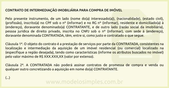 Modelo De Contrato De Intermediação Imobiliária Para Compra