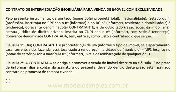 Modelo De Contrato De Intermediação Imobiliária Para Venda