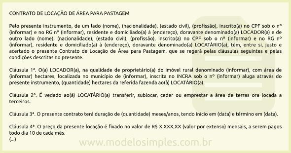 Modelo de Contrato de Locação de Área para Pastagem 616d379787