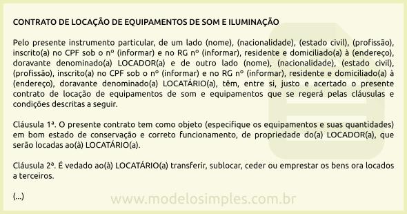Modelo de Contrato de Locação de Equipamentos de Som e Iluminação ee4a900d89