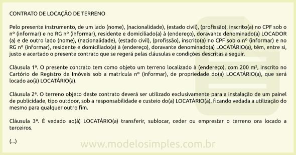 Modelo De Contrato De Locação De Terreno Para Publicidade