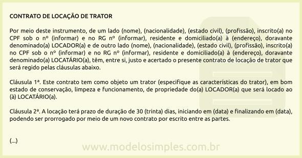 Modelo De Contrato De Locação De Trator