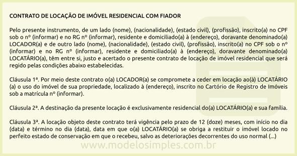 Modelo De Contrato De Locação Residencial Com Fiador