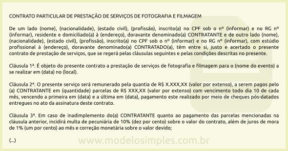 Modelo De Contrato De Prestação De Serviços De Fotografia E