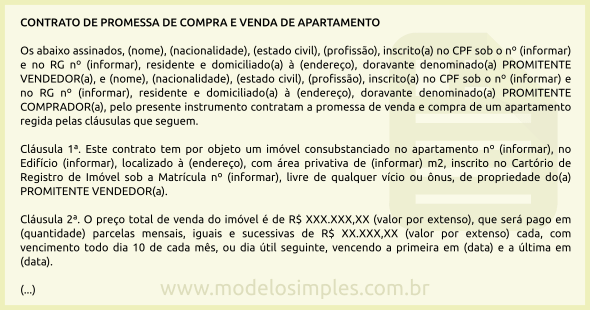 Modelo De Contrato De Promessa De Compra E Venda De Apartamento