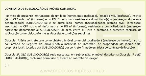 Modelo De Contrato De Sublocação De Imóvel Comercial