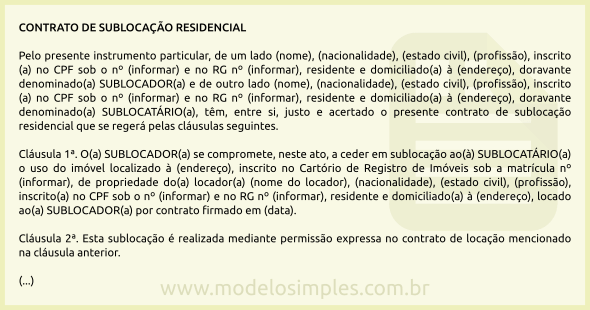 Modelo De Contrato De Sublocação Residencial