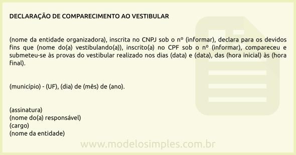 Modelo De Declaração De Comparecimento Ao Vestibular