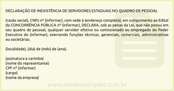Modelo De Declaração De Inexistência De Servidores Públicos
