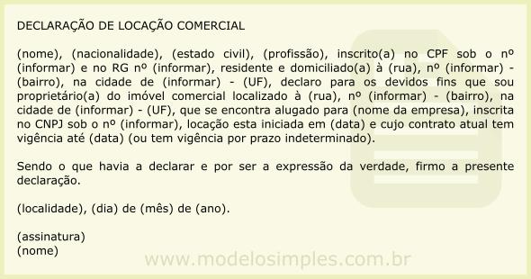Modelo De Declaração De Locação De Imóvel Comercial