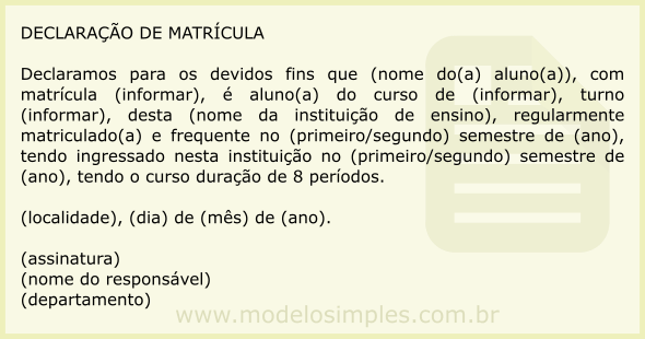 Modelo De Declaração De Matrícula