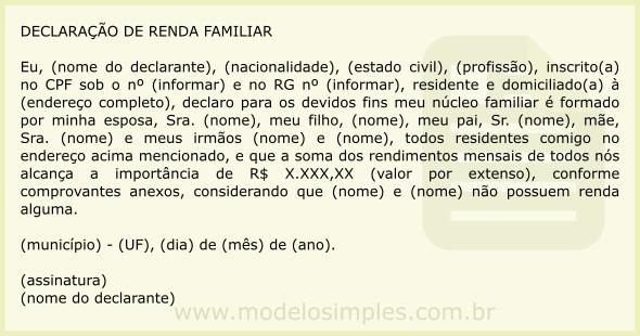Modelo De Declaração De Renda Familiar