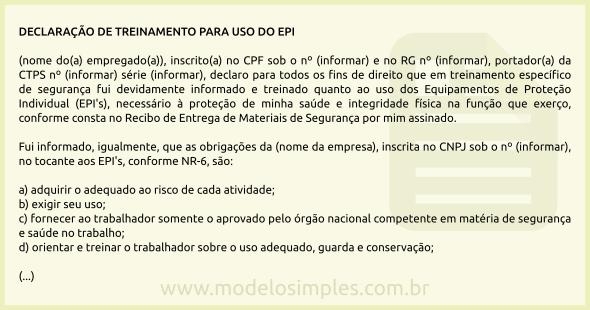 Modelo De Declaração De Treinamento Para Uso Do Epi