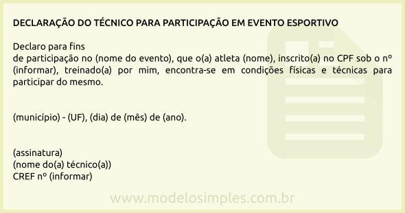 Modelo De Declaração Do Técnico Para Participação Em Evento