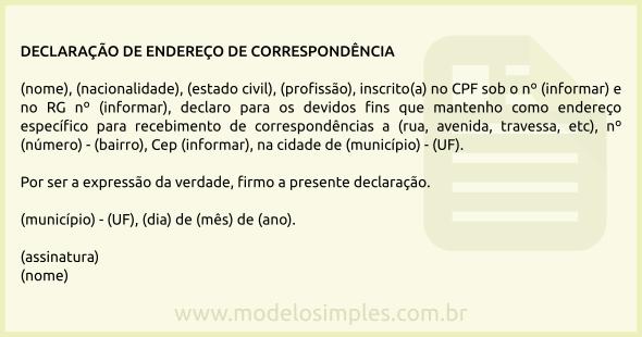 c42677d6f7c2b0 Modelo de Declaração Endereço de Correspondência