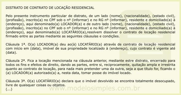 Modelo de Distrato de Contrato de Locação Residencial 4d63e59431