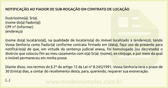 Modelo De Notificação Ao Fiador Da Sub Rogação No Contrato