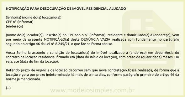 Modelo De Notificação Para Desocupação De Imóvel Residencial
