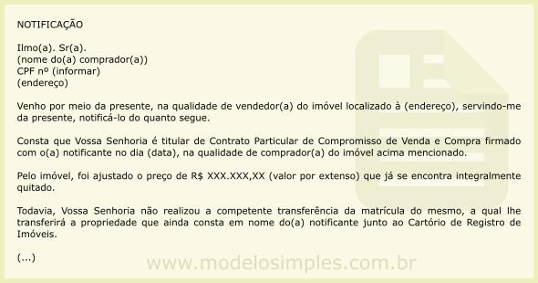 Modelo de notifica o para o comprador transferir a for Via extrajudicial