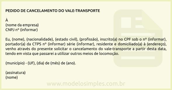 Modelo De Pedido De Cancelamento Do Vale Transporte