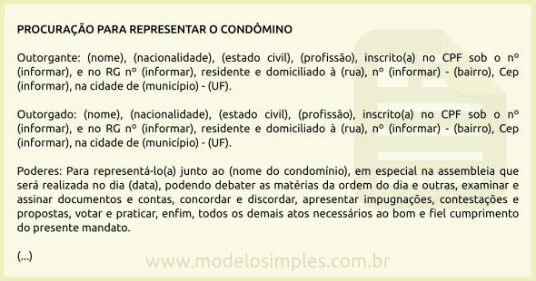 Modelo De Procuração Para Representar O Condômino