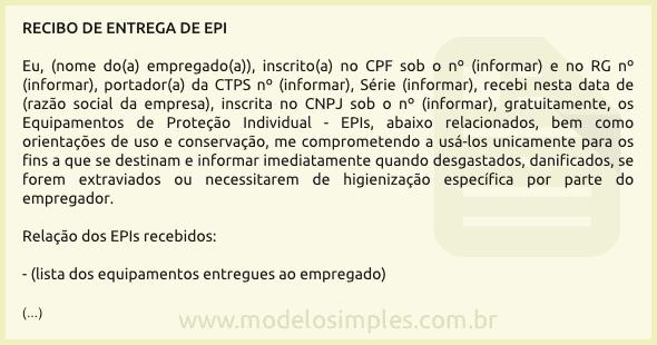 fde7e915889f3 Modelo de Recibo de Entrega de EPI