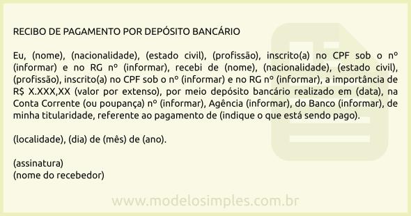 Modelo De Recibo De Pagamento Por Depósito Bancário