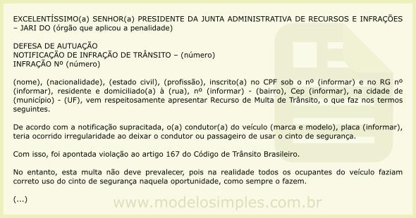 Modelo de Recurso de Multa por Deixar de Usar Cinto de Segurança 5210a5031b