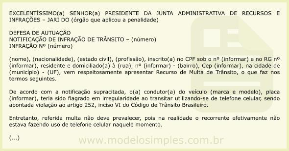 Modelo de Recurso de Multa por Dirigir Falando ao Celular