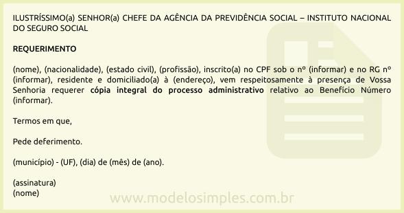 Modelo De Requerimento De Cópia Do Processo Previdenciário