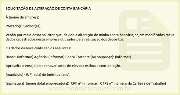 Modelo De Solicitação De Alteração De Conta Bancária